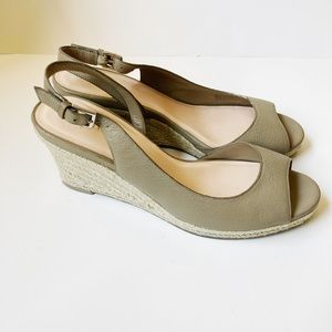 Cole Haan Taupe Peep Toe Comfortable Wedges Size 9